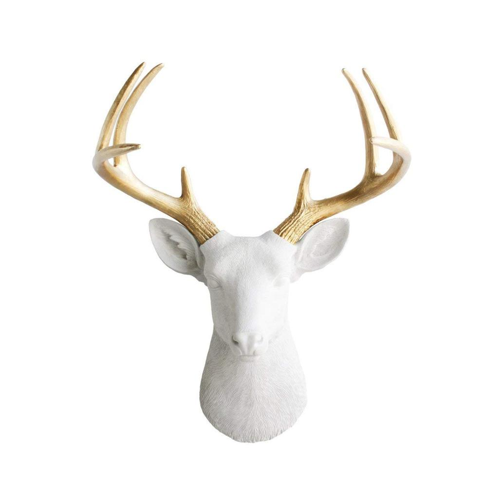 "Polyresin Corna di Cervo Testa di Grandi Dimensioni In Oro Bianco + Faux Deer Head-21 ""Bianco Faux Tassidermia Muro di Testa di Animale decor"