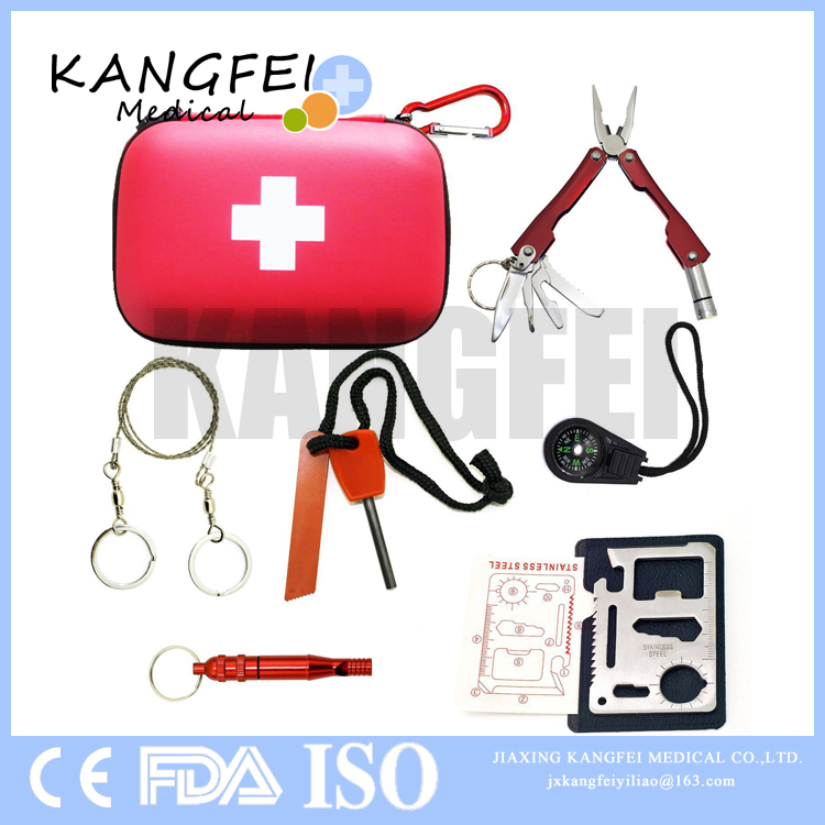 Hot selling KF773 6 pieces Red EVA Outdoor Emergency Survival Gear Kit with Waterproof Bag