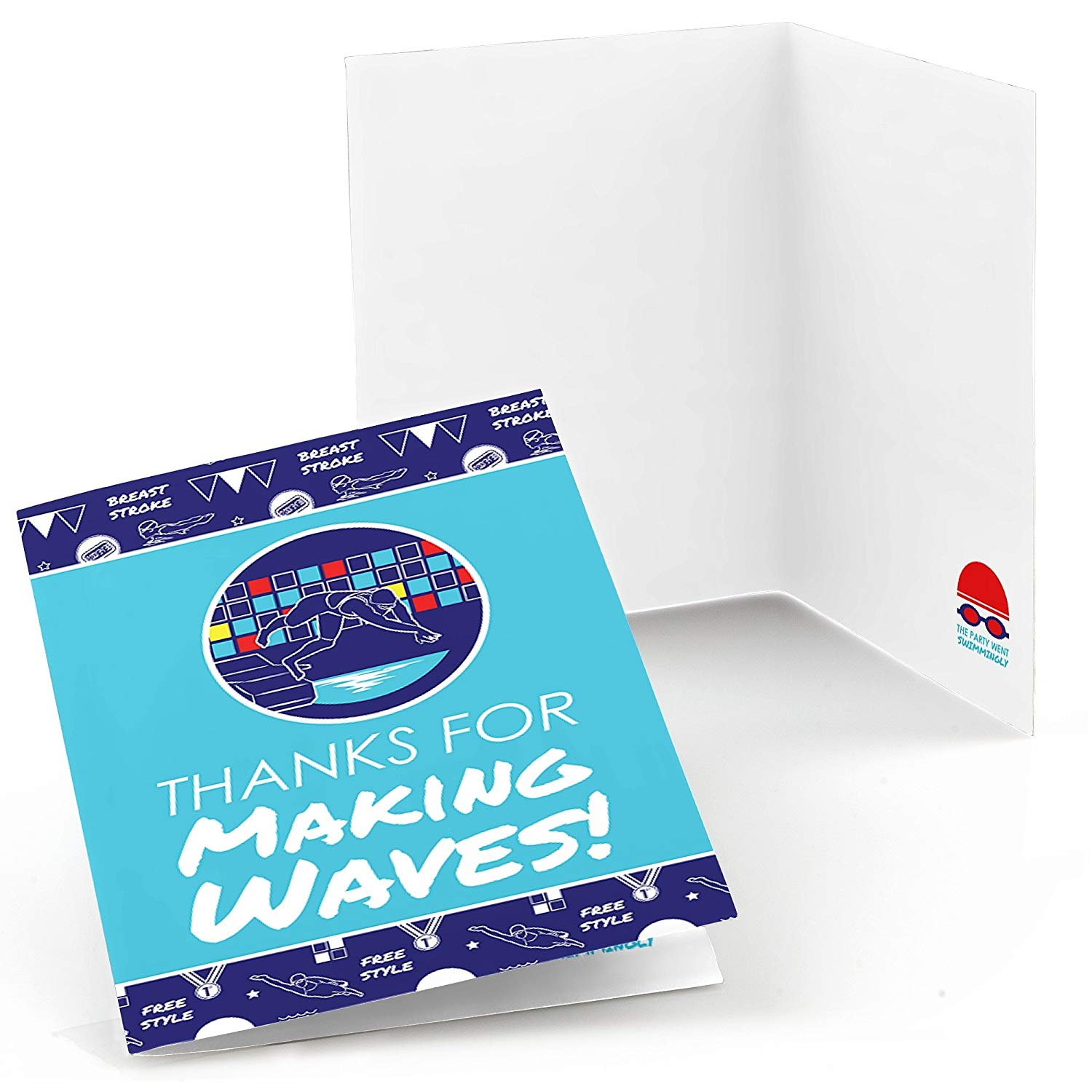 Making Waves - Swim Team - Swimming Party or Birthday Party Thank You Cards (8 count)