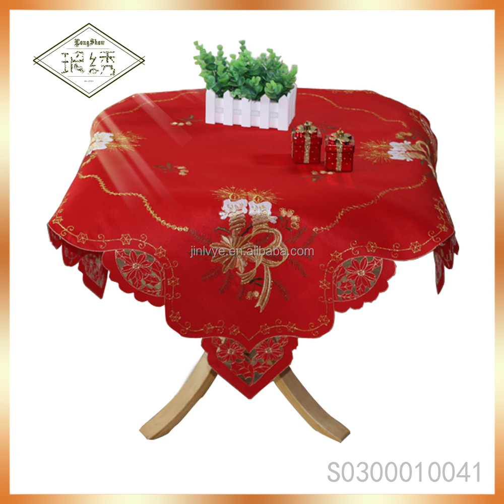 Christmas Festival Decorative Table Cover Wholesale Home Decor Satin Embroidery Table Cloth