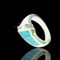 Fire Opal Inlay 925 Sterling Silver Rings, Opal Stone Bangkok Jewellery