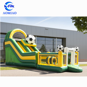 0.55mm PVC colorful bounce house combo inflatable water slide , jumping castle with soccer for outdoor
