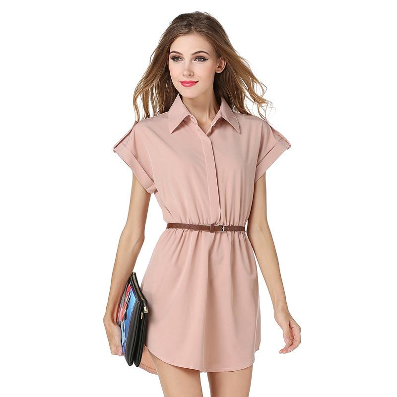 3e71d4637 De moda de señora de la Oficina de manga corta Blusa de gasa vestido de  camisa