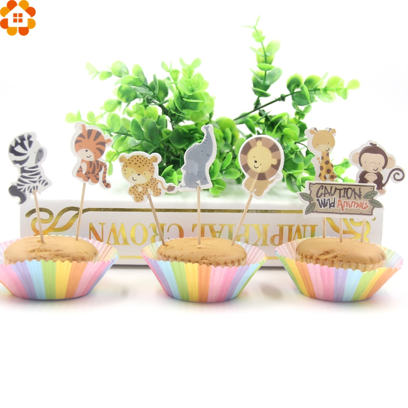 Wooden Happy Birthday Party Cake  Assorted Pieces