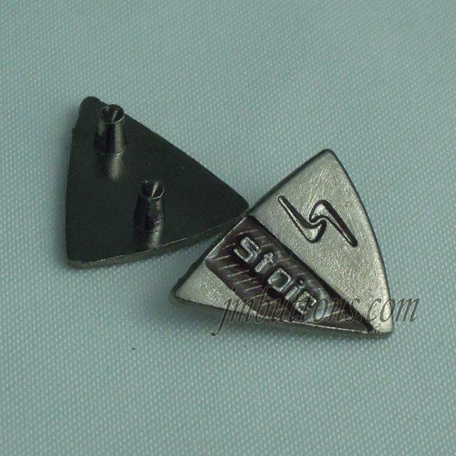 61a44c6c02 custom made triangle jeans bag brand logo name metal label for malaysia