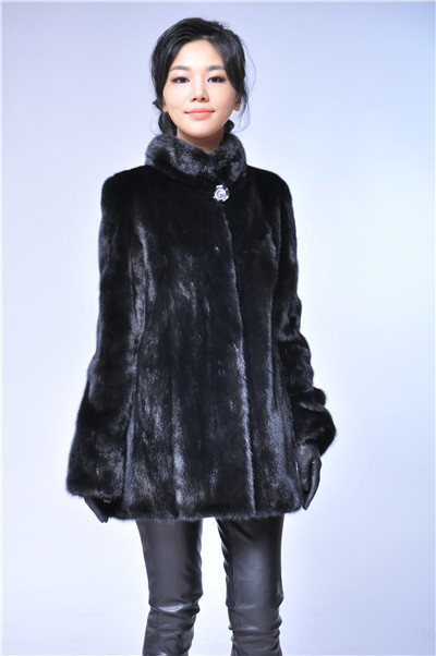 black short fashion woman stand collar natural fur mink coat