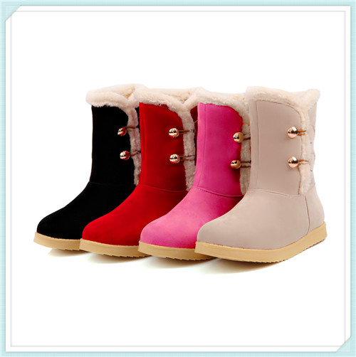 2014 cute Autumn Winter warm snow boots women boots rubber boots ankle boots for women Black,pink,red,khaki size 34-39