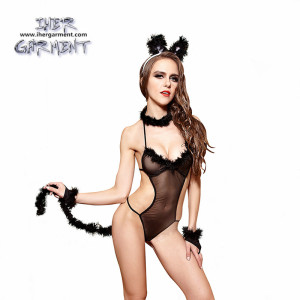 Womens Cute Cat Cosplay Costumes Lolita Fox Tail Panties Fur G-String Plush Thong Panties with headset IH-U080