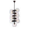 Retro Vintage Industrial Style Chandelier in Globe Clear Glass