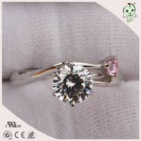 Fashion Double Diamond Design With Red Gemstone Inlaied 925 Silver Ring