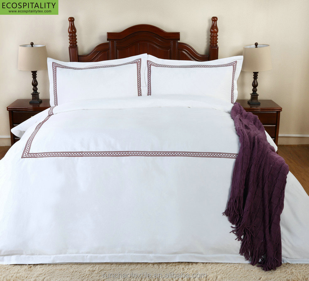100% Cotton 400TC Solid White Hotel Embroidery Bed Linens in Guangzhou