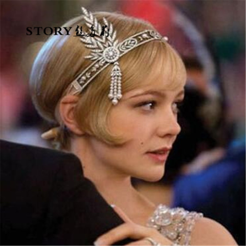 The Great Gatsby Baroque Eurpean party gothic princess wedding bride pearl tassels crystal hairband headband tiara and <strong>crowns</strong>