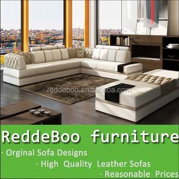 Hot Modern Black U Shaped Genuine Leather Round Corner Sofa