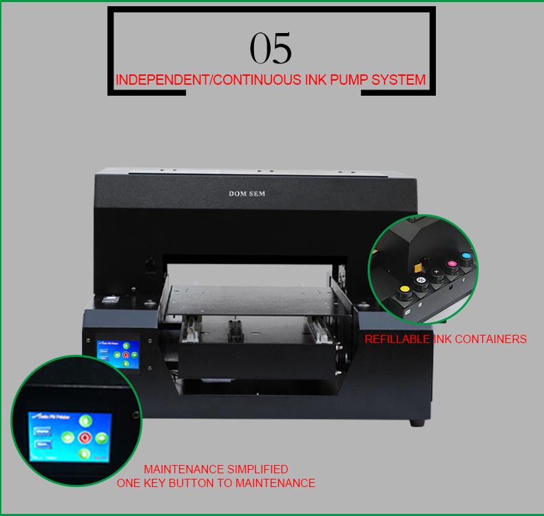 Hoge kwaliteit Automatische A3 UV flatbed printer voor leer, t-shirt, kledingstuk, doek, hout, glas, telefoon case cover, DTG afdrukken