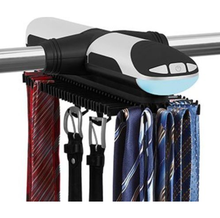 Motorized Tie Rack With Built In LED Light Fits More Than 70 Ties and Belts