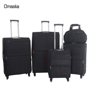 "20""24""28""32"" 4pcs with 14"" handbag nylon soft 4 wheels travel luggage sets trolley bags suitcase"