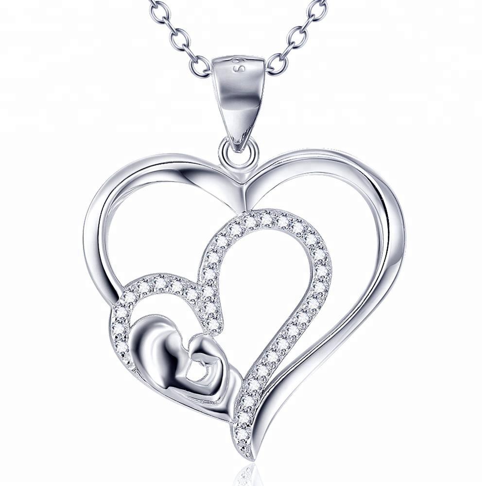 b0e6c1ecae5b Plata esterlina 925 mamá niño doble corazón collar de regalo de día de las  madres