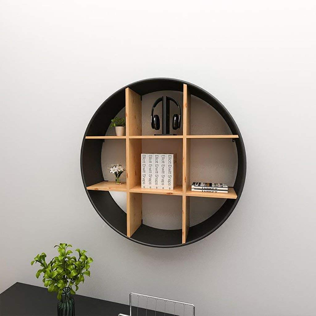 Gspsgj Living Room Wall, Solid Wood Round Racks, Creative Wall Shelves, Wall Decoration, Wrought Iron (Color : Black, Size : 6518cm)