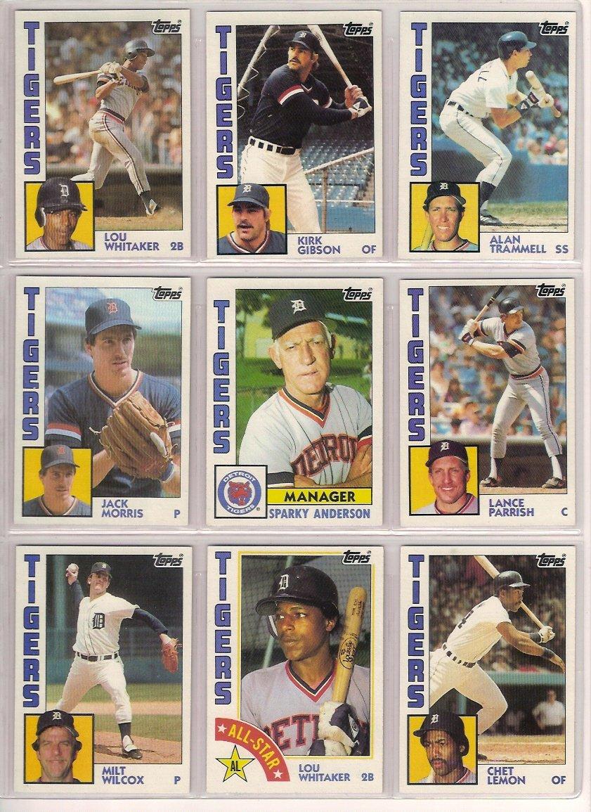 Detroit Tigers 1984 Topps Baseball Team Set (World Series Champions) (Kirk Gibson) (Alan Trammell) (Lou Whitaker) (Jack Morris) (Darrell Evans) (Sparky Anderson) (Milt Wilcox) (Lance Parrish)