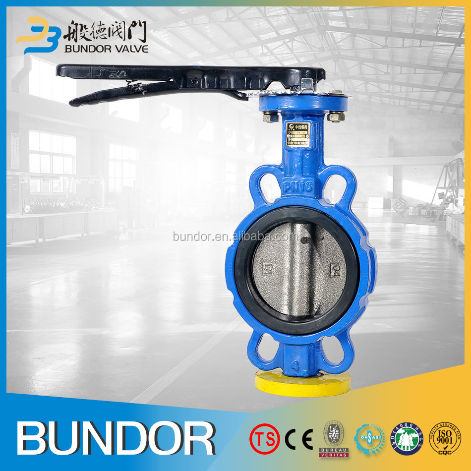 Cast iron manual dn125 wafer butterfly valve no pin