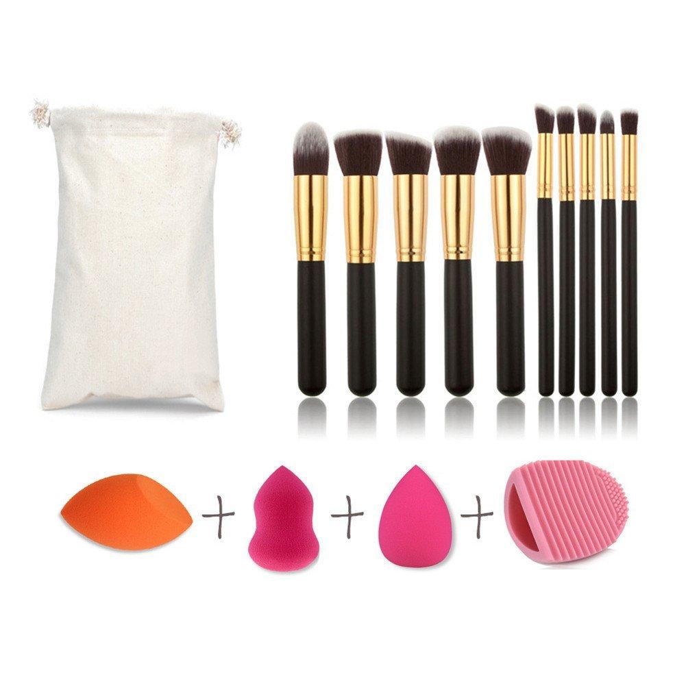 Eye Makeup Brush Set, Morbuy Shadow Pro Wool Cosmetics Professional Tools Powder Foundation 10pcs Lip 3Pcs Makeup Puff Scrub Eggs Toiletry Kit with Travel Pouch