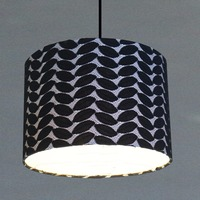 Black lamp shade with woven picture fabrics