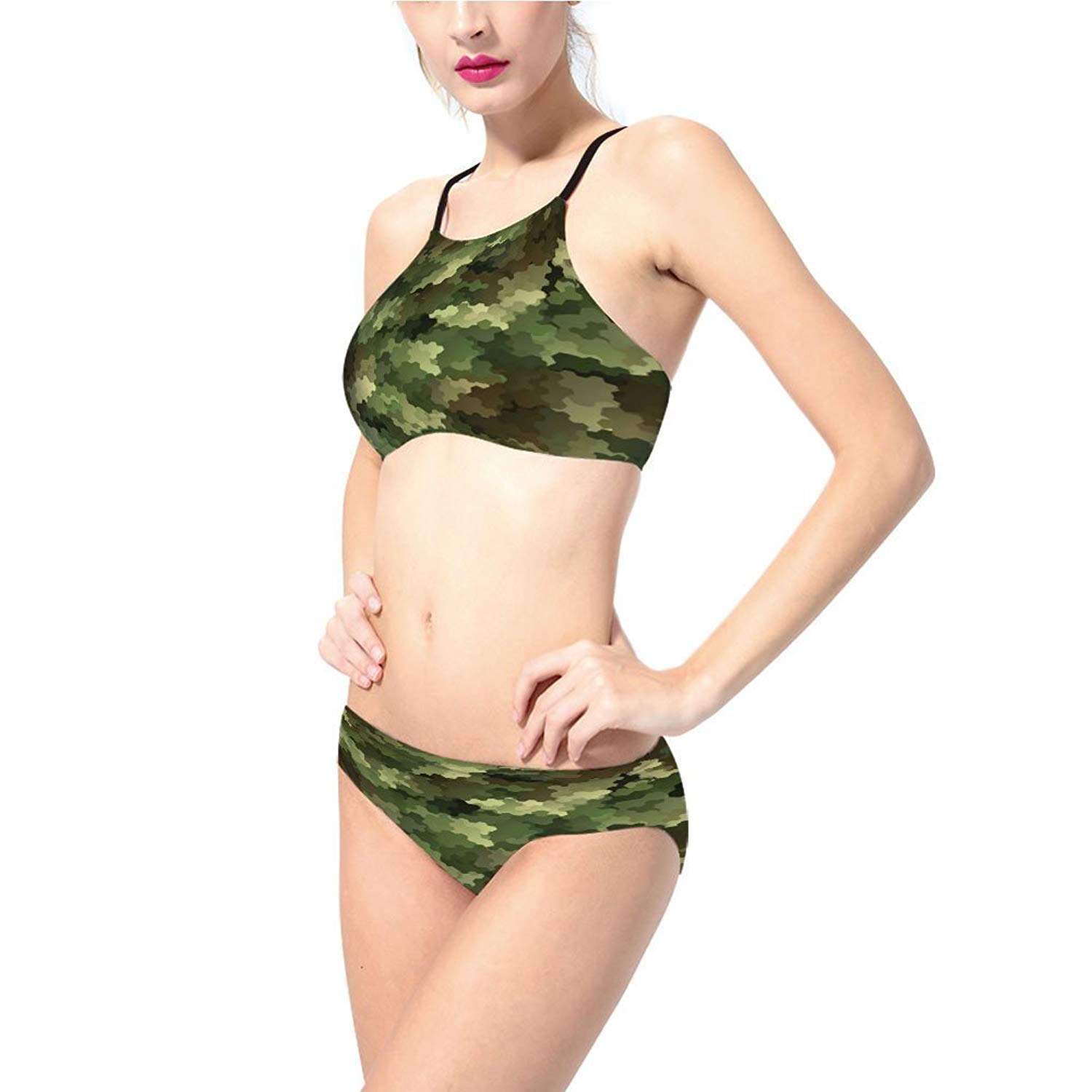 3930ed5c914 Get Quotations · iprintsophiexudoudou Swimsuit,Abstract Being Invisible  Woodland Army,Green,for Women