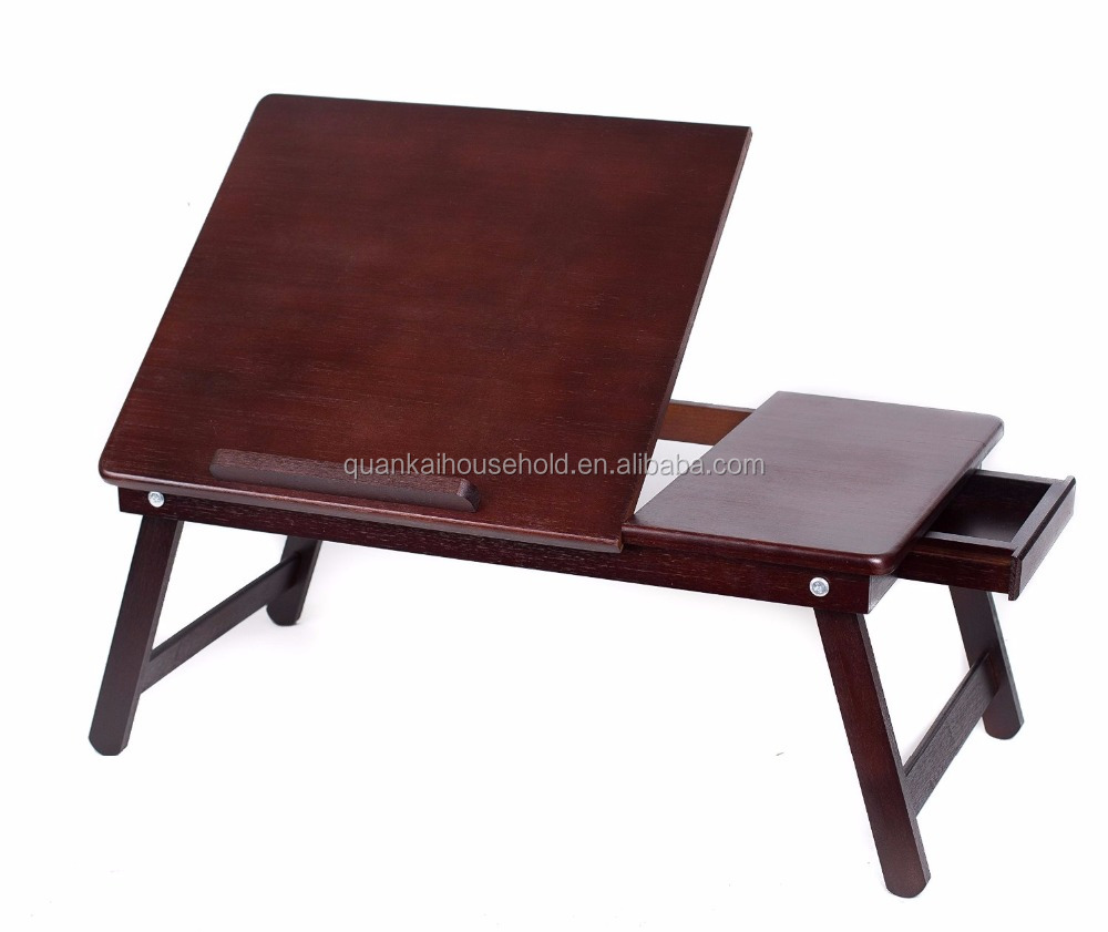Bamboo Laptop Bed Tray (Walnut) , With Foldable Legs, Storage Drawer, Adjustable Tilt Section and Removeable Stopper