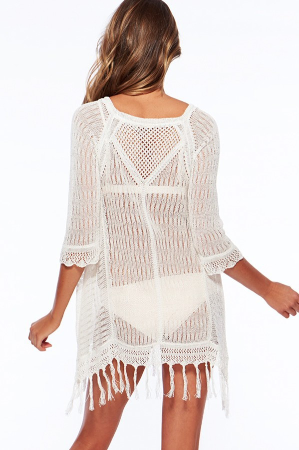 8c2ea18200f1 2018 New design prompt delivery ready stocklot white crochet beach dresses  with tassels