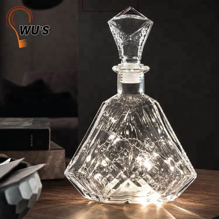 Modern Gift choice decorative beautiful home party battery light waterproof bottle lamp led glass bottle wine led light