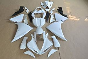 Wotefusi Brand New Motorcycle ABS Plastic Unpainted Polished Needed Injection Mold Bodywork Fairing Kit Set For Yamaha YZF R1 2013 White Base Color