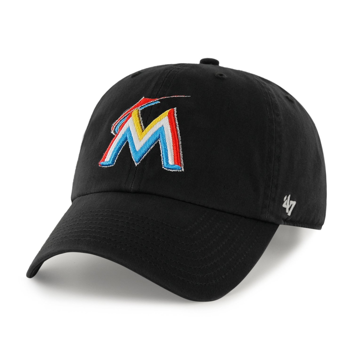 size 40 b405c 7d514 Get Quotations · MLB Miami Marlins  47 Brand Black Basic Logo Clean Up Home  Adjustable Hat