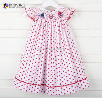 9d3223ba55c Child Fancy Wears Summer Sleeveless children frocks designs Baby Girl red  polka dots smocked dress for