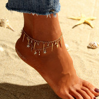 Barefoot sandal jewelry double layered rhinestone insert star charm anklet
