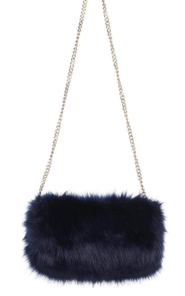 618a5c743d38 Get Quotations · CCFW Women s Faux Fur Hand Warmer Muff Bag With Gold Chain