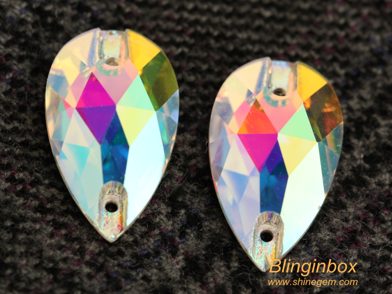 Blinginbox new arrival AAAA high quality rivoli shape clear AB color flat back sew on crystal stone