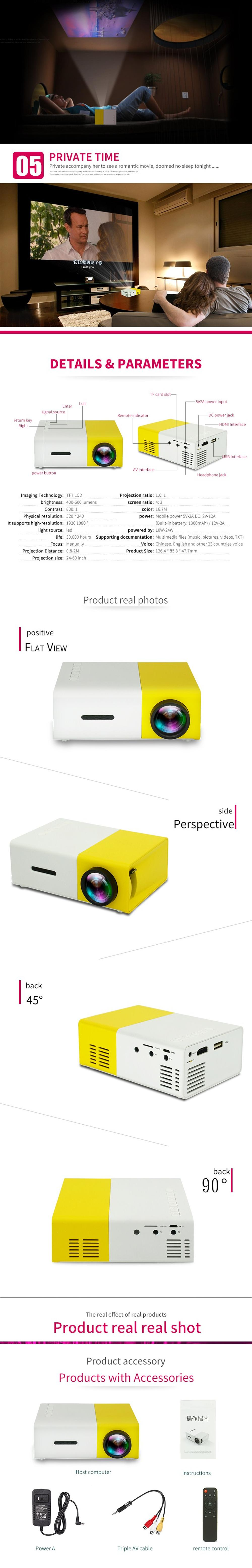 YG300 Mini Portable LED Projector with USB/SD/AV Input - International Version White/yellow/black
