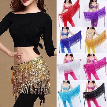 Belly Dance Costume Set Sequins Tassel Fringe Hip Scarf Belt Waist Bra Top+Skirt