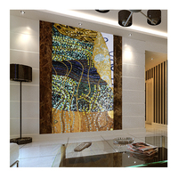 Wholesale price handcraft Klimt abstract painting glass mosaic mural tile for special background wall tile