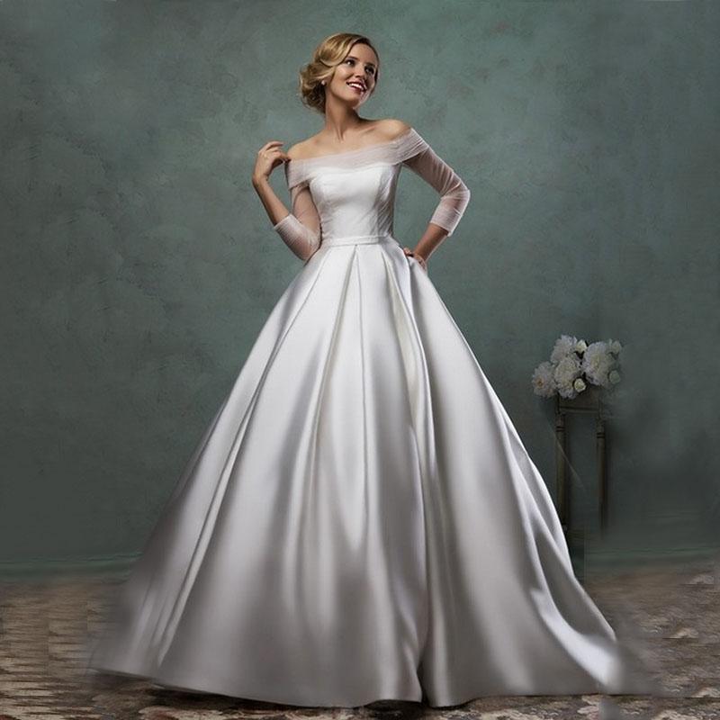 20 Elegant Simple Wedding Dresses Of 2015: Custom Made Ball Gowns Satin Wedding Dresses Elegant
