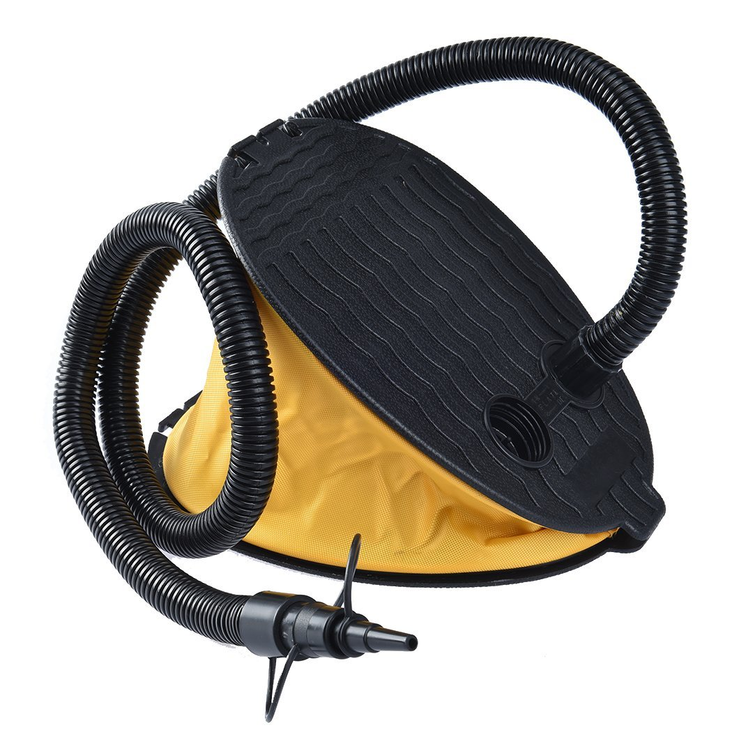 RUNACC 3000CC Foot Air Pump Foot-operated Inflator Portable Bellows Foot Pump for Camping Sleeping Air Bed and Inflatable Mattress, Yellow and Black