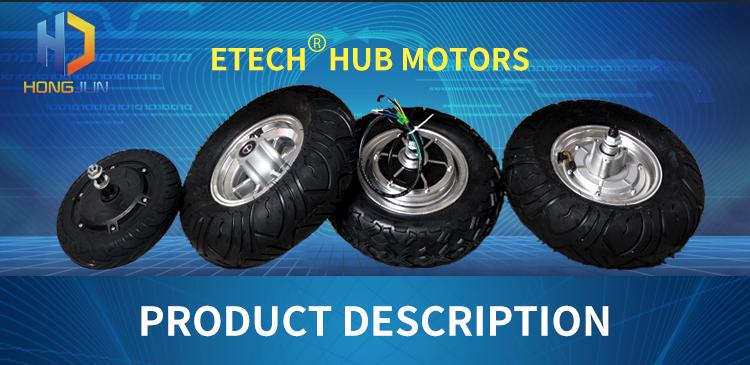DC Brushless gearless 10 Inch 250W 350W 500W 800W Electric Wheel Hub Motor