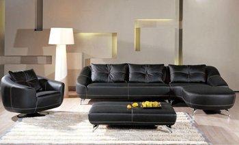Magnificent Modern Black Leather Match Sectional Sofa Couch Set Chaise Ottoman Sku 23B293 Buy Modern Black Leather Match Sectional Sofa Couch Set Chaise Customarchery Wood Chair Design Ideas Customarcherynet