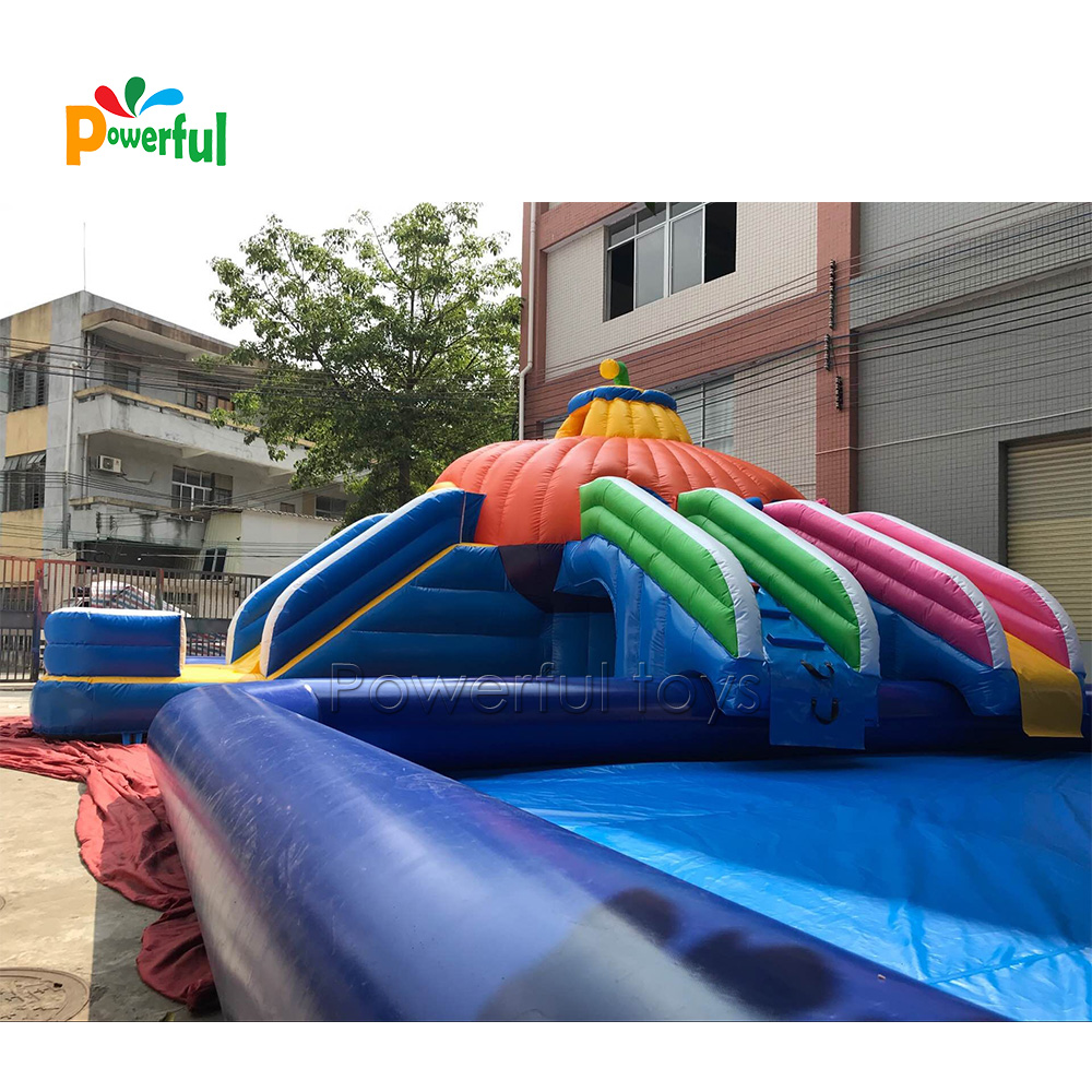triple lane inflatable water slide with pool