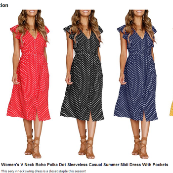 f70b3e94b7e 2018 women dresses maxi dress Women s Summer Boho Polka Dot Sleeveless V  Neck Swing Midi Dress