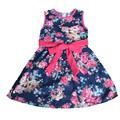 2016 Summer Bow Floral Print Girls Princess Party Dresses Kids Formal Sleeveless Dress Children girl dress