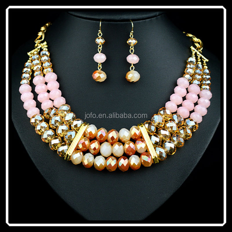New 2015 Fashion Garnet Bead Jewellery Set Gold Plated Crystal Acrylic Ball Necklace Earrings Set For Women