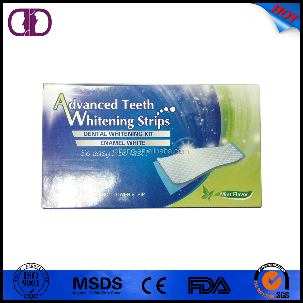 private label 6%HP teeth whitening strips double elastic gel for home use