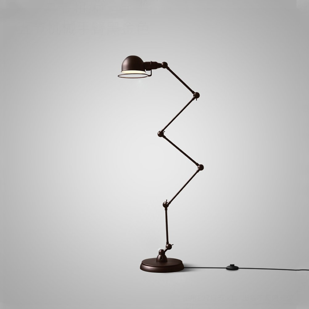 WAN SAN QIAN- Loft Industrial Style Retro Iron Lighting Simple Postmodern Adjustable Five Sections Floor Lamps Black Floor Lamp