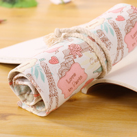 Kawaii Love In Paris 48 Holes Roll Up Canvas Curtain Pencil Holder Case Bag